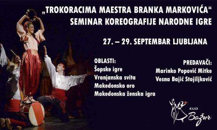 """""""Po trokorakih maestra Branka Markovićа"""" Seminar o koreografiji ljudskega plesa"""